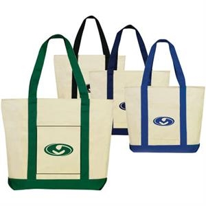 Malta - Eco-friendly Cotton Tote Bag Features Open Front Pocket And Full Zippered Gusset