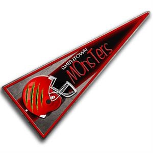 "Custom Embossed Aluminum Pennant Sign (9"" X 22""). Includes 4 Color Process"