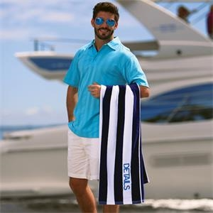 "3 Working Days - Cabana Beach Towel, Terry Velour, Hemmed, 35"" X 60"""