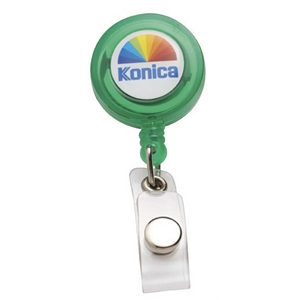 "N-dome(tm) - Translucent Green - Badge Holder With 32"" Retractable Cord. Full Color N-dome (tm)1 3/4"" X 3 1/4"""