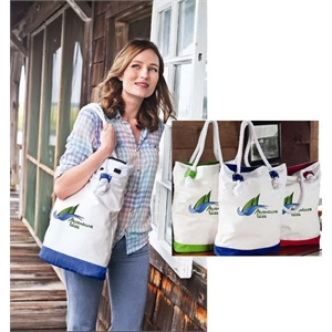 Castaway Tote (tm) - Colorfusion (tm) Transfer - Tote With Nautical Accents And Cotton Rope Handles