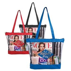 Barbados - Clear Tote With 600 Denier Colored Trim And Sturdy Handles