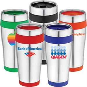 Stainless Steel 16 Oz. Travel Tumbler Or Mug With Thumb Slide Lid