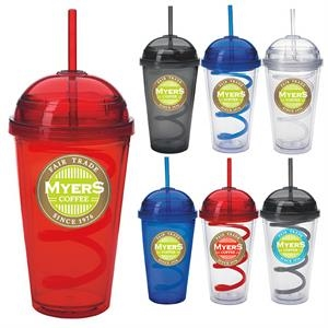 Dome Tumbler with Curly Straw - 18 oz