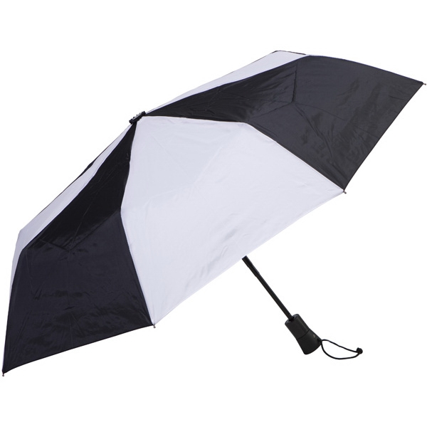 "Black-white - Automatic Open/close Folding 42"" Umbrella With Black Metal Shaft Photo"