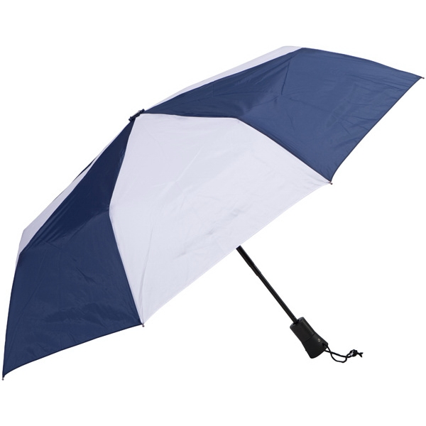 "Navy-white - Automatic Open/close Folding 42"" Umbrella With Black Metal Shaft Photo"