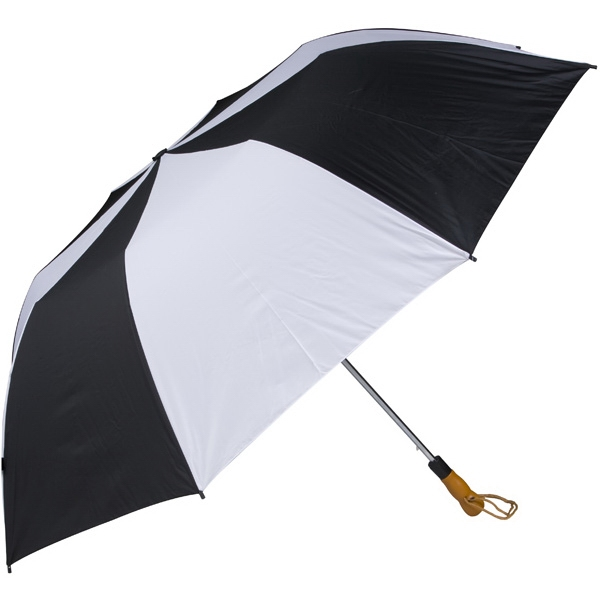 "Black-white - 58"" Folding Golf Umbrella With Automatic Open Photo"