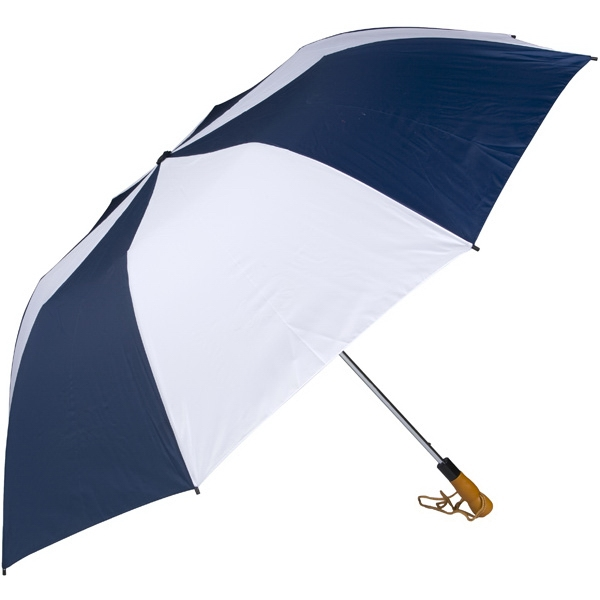 "Navy-white - 58"" Folding Golf Umbrella With Automatic Open Photo"