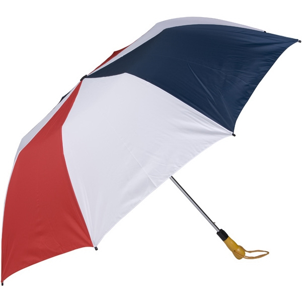 "Red-white-navy - 58"" Folding Golf Umbrella With Automatic Open Photo"