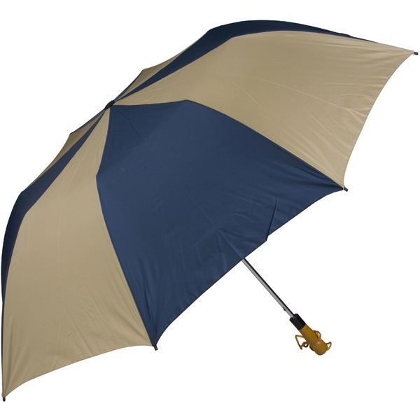 "Navy-tan - 58"" Folding Golf Umbrella With Automatic Open Photo"