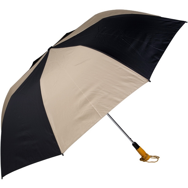 "Black-tan - 58"" Folding Golf Umbrella With Automatic Open Photo"