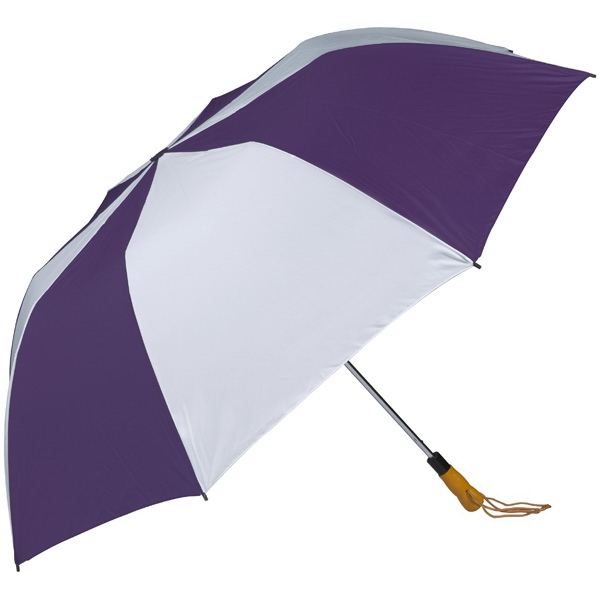 "Purple-white - 58"" Folding Golf Umbrella With Automatic Open Photo"
