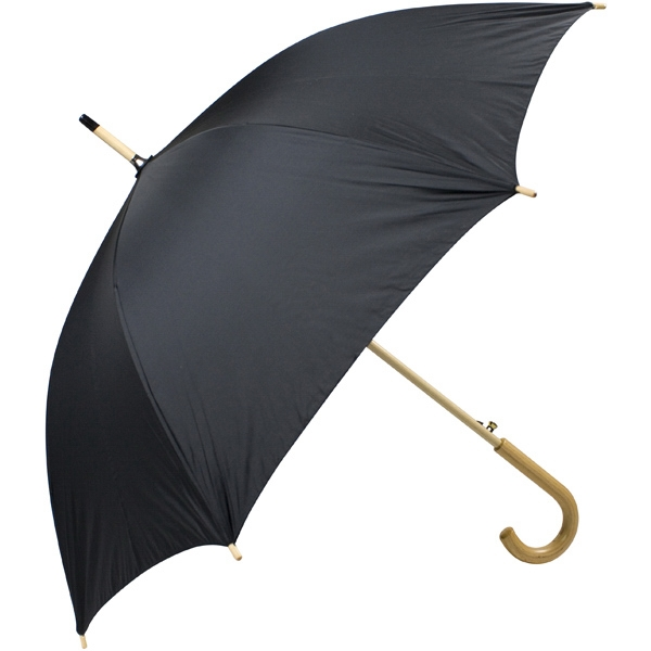 "Black - Automatic Open 48"" Arc Umbrella With Wood Shaft, Tips, And Crook Hand Photo"