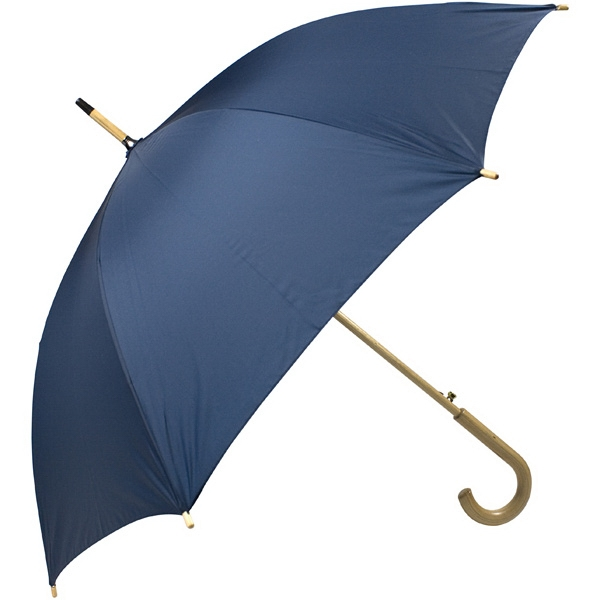 "Navy - Automatic Open 48"" Arc Umbrella With Wood Shaft, Tips, And Crook Hand Photo"