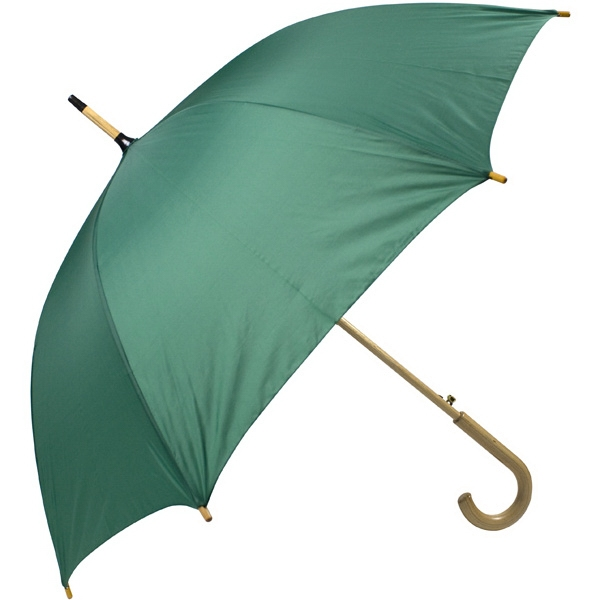 "Pine - Automatic Open 48"" Arc Umbrella With Wood Shaft, Tips, And Crook Hand Photo"