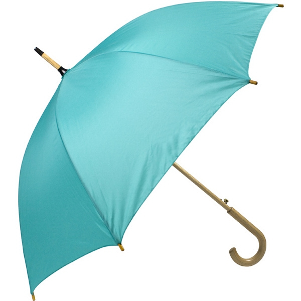 "Teal - Automatic Open 48"" Arc Umbrella With Wood Shaft, Tips, And Crook Hand Photo"