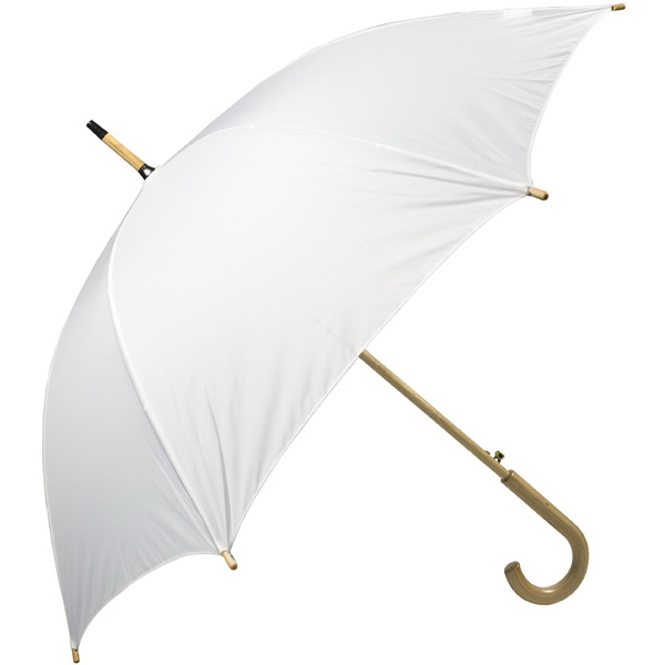 "White - Automatic Open 48"" Arc Umbrella With Wood Shaft, Tips, And Crook Hand Photo"