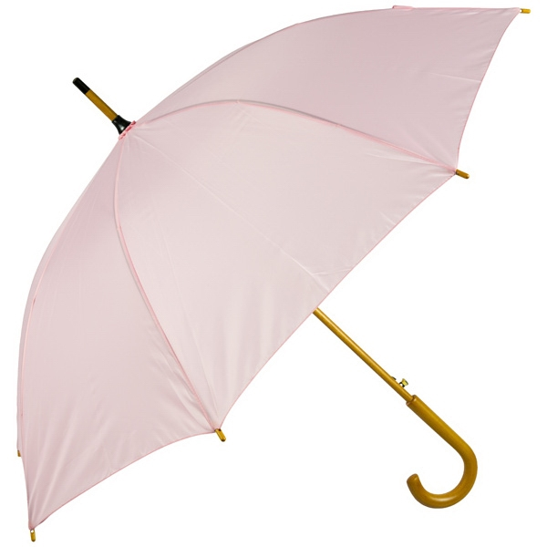 "Pink - Automatic Open 48"" Arc Umbrella With Wood Shaft, Tips, And Crook Hand Photo"