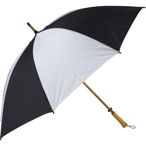 Eagle (tm) - Black-white - Classic Golf Size Umbrella With Wooden Shaft Photo