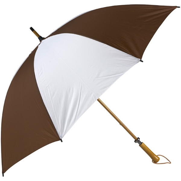 Eagle (tm) - Brown-white - Classic Golf Size Umbrella With Wooden Shaft Photo