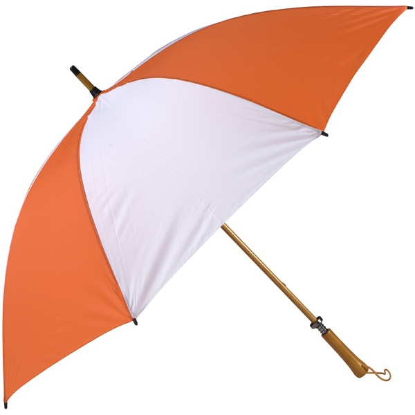 Eagle (tm) - Orange-white - Classic Golf Size Umbrella With Wooden Shaft Photo