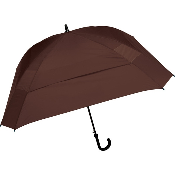 "The Concierge - Brown - Classic Square Umbrella, 62"" Of Coverage To Comfortably Keep Two People Dry Photo"