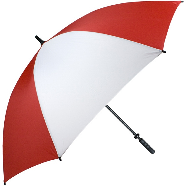 "Pro-line (tm) - Red-white - Single Canopy Golf Umbrella With Black Braided Fiberglass Shaft, 62"" Photo"