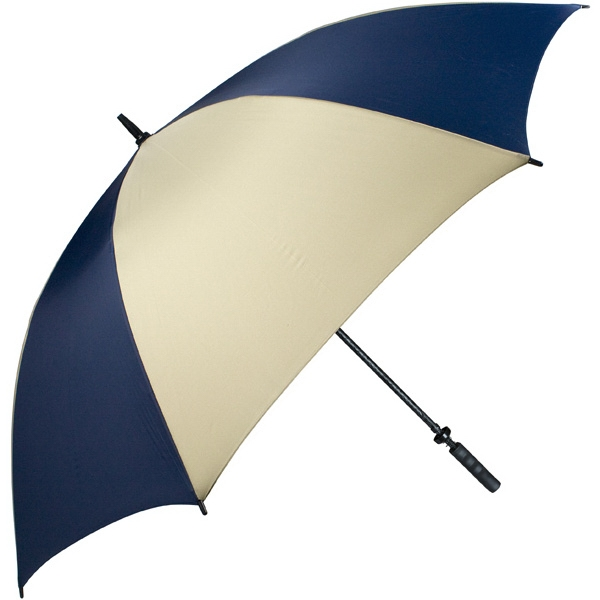 "Pro-line (tm) - Navy-tan - Single Canopy Golf Umbrella With Black Braided Fiberglass Shaft, 62"" Photo"