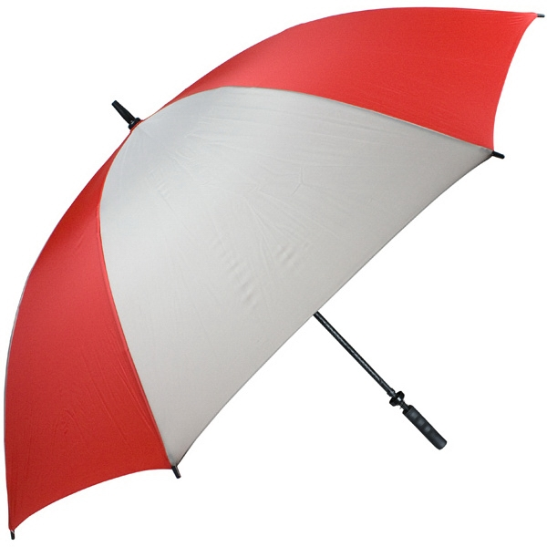 "Pro-line (tm) - Red-gray - Single Canopy Golf Umbrella With Black Braided Fiberglass Shaft, 62"" Photo"