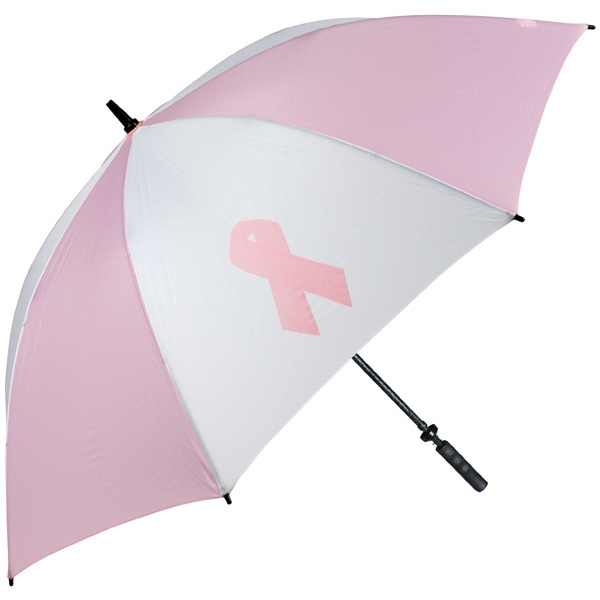 Pro-line (tm) - Pink-white Golf Umbrella With Breast Cancer Awareness Ribbon, Rubber Handle Photo