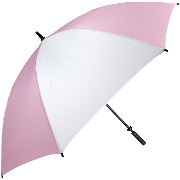 "Pro-line (tm) - Pink-white - Single Canopy Golf Umbrella With Black Braided Fiberglass Shaft, 62"" Photo"