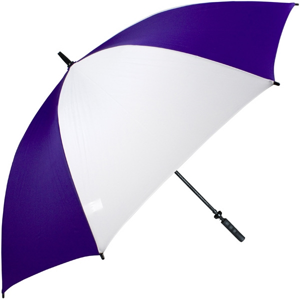 "Pro-line (tm) - Purple-white - Single Canopy Golf Umbrella With Black Braided Fiberglass Shaft, 62"" Photo"