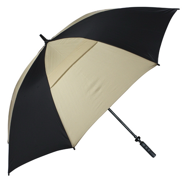 "Hurricane 345 (r) Tour Plus - Black-tan - Golf Umbrella With A 62"" Arc And Wind-vents Photo"