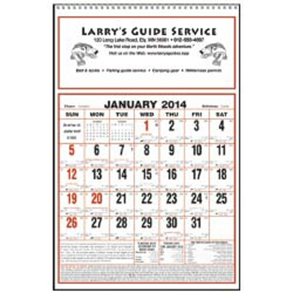 2015 Calendar With Large Almanac, Julian Dates, And Zodiac Information Photo
