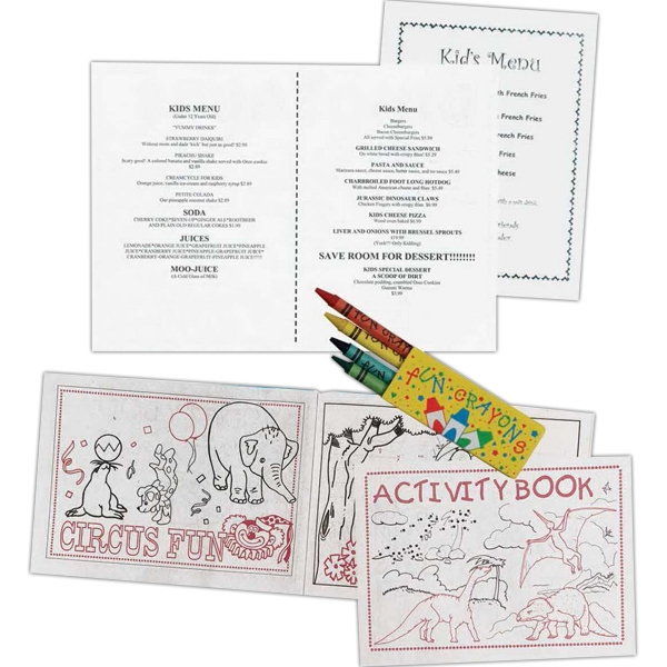 Stock Coloring/activity Book With Assorted Pictures, Puzzles, Connect The Dots, Etc Photo