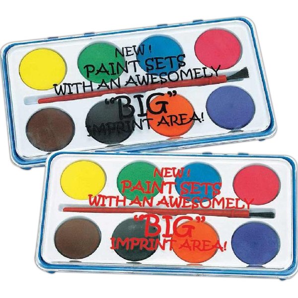 Paint Set Includes Eight Bright Colors And A Brush In A Plastic Case. Imprinted Photo
