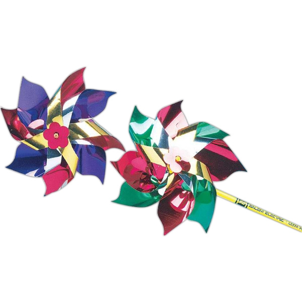 "Metallic 4"" Pinwheel With 11"" Stick. Imprinted Photo"