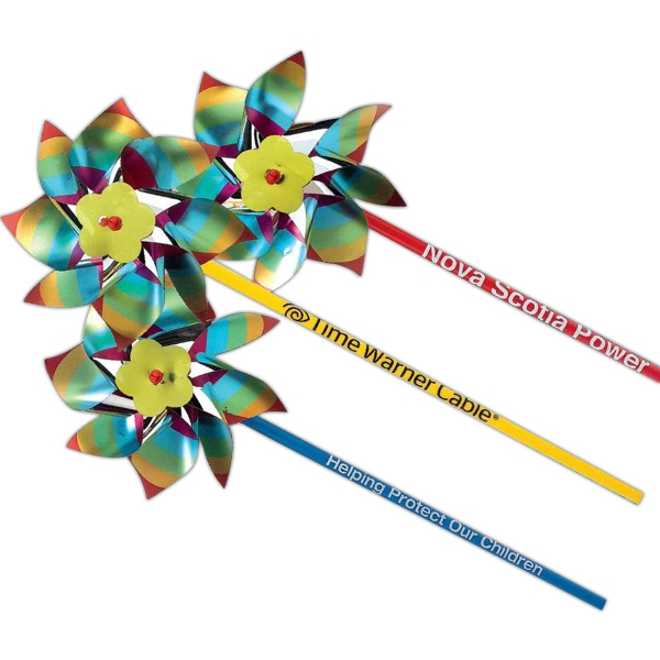 "Metallic Rainbow 4"" Pinwheel With 11"" Stick. Imprinted Photo"