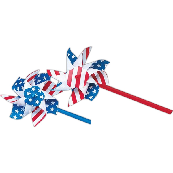"Patriotic 4"" Red, White & Blue Pinwheel With 11"" Stick. Imprinted Photo"