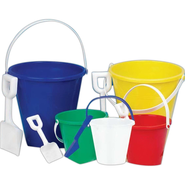"5"" High And 5 3/4"" Across Small Pail In Assorted Colors. White Shovel. Imprinted Photo"