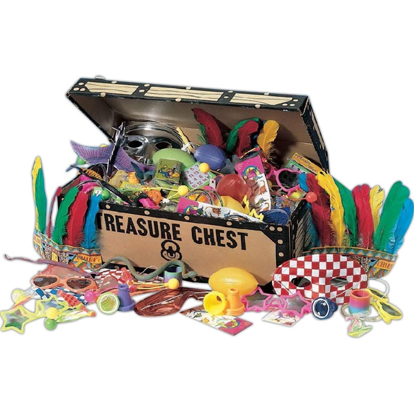 Sturdy Cardboard Treasure Chest With 96 Larger Choice Toys. Blank Photo