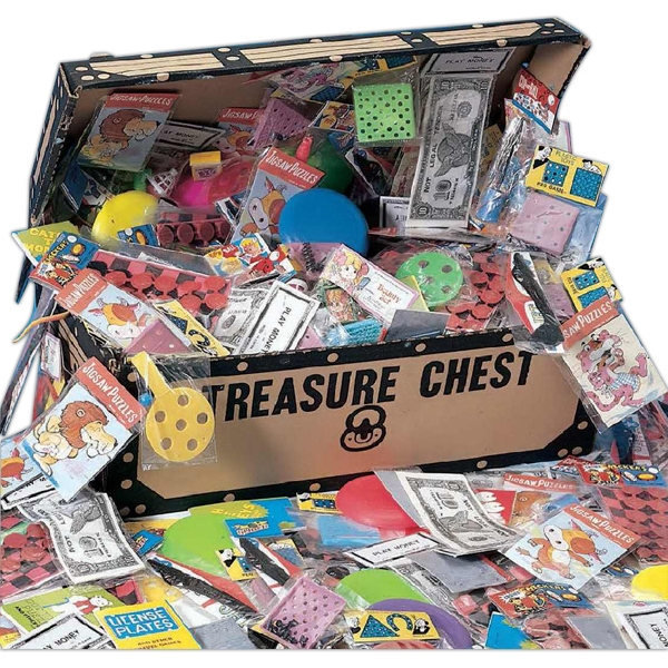 Sturdy Cardboard Pirate's Treasure Chest With 200 Popular Toys. Blank Photo