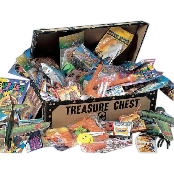 Sturdy Cardboard Pirate's Treasure Chest With 50 Deluxe Toys. Blank Photo