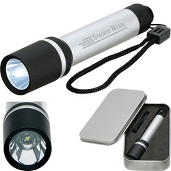 Icarus - Led Flashlight With Elegant Rubberized Accents And Stylish Metal Gift Tin Photo