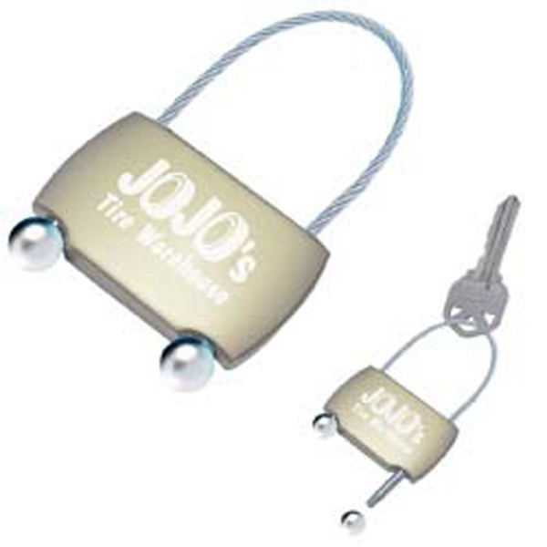 Zinc Alloy Key Tag With Flexible Locking Cable Photo