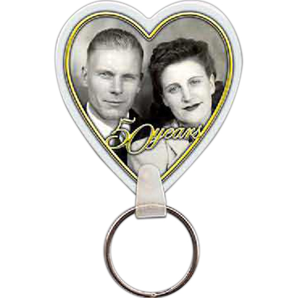 "Full Color On Color Item - Full Color Heart Shaped Key Tag, 1.89"" W X 2.11"" H Photo"