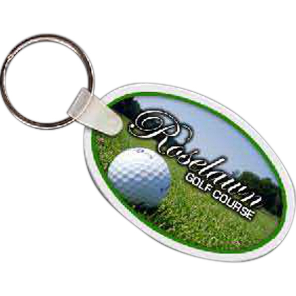 "2.55"" X 1.64"" - Oval Shaped Key Tag Photo"