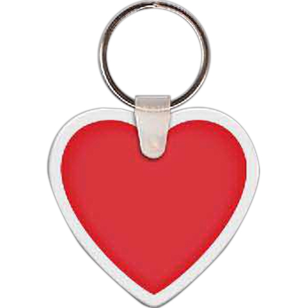 "Full Color On White Item - Full Color Heart Shaped Key Tag, 2.01"" W X 1.9"" H Photo"