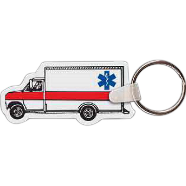 "2.57"" X 1.25"" - Ambulance Shaped Key Tag Photo"