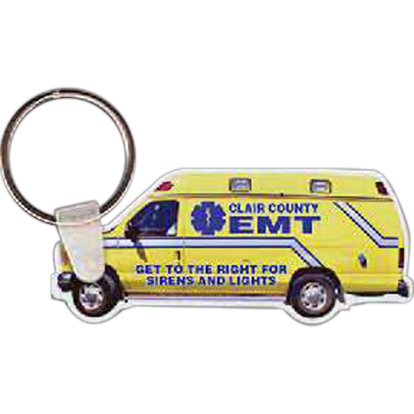 "2.78"" X 1.20"" - Ambulance Shaped Key Tag Photo"